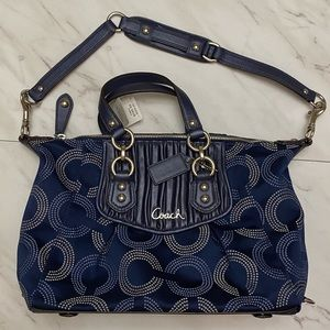 Coach navy and silver hobo